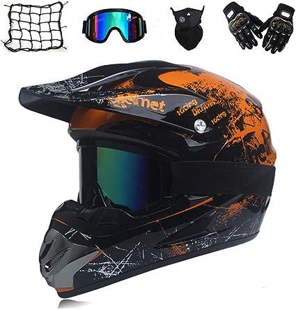 Moto DH Off-Road Enduro VTT VTT BMX Downhill Dirt Bikes Casque de Moto Cross pour Moto avec Masque de Gants,Orange,M 57~58CM Casque Crash Motocross Adulte pour Hommes Femmes