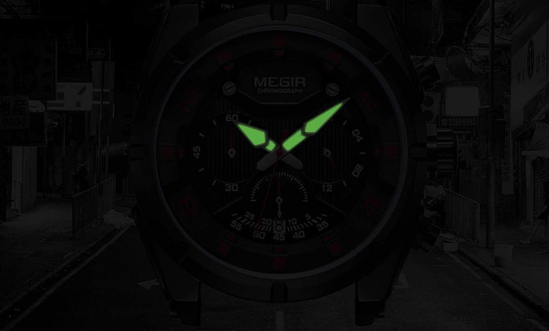 Montres Hommes,Montre Chronographe Multifonctionnelle De Sport pour Hommes Montre À Quartz Lumineuse Étanche Black Leucorrhea