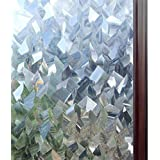 rabbitgoo Static Window Film Privacy, 3D Decorative Stained Glass Film, Static Cling Door Window Covering, Removable…