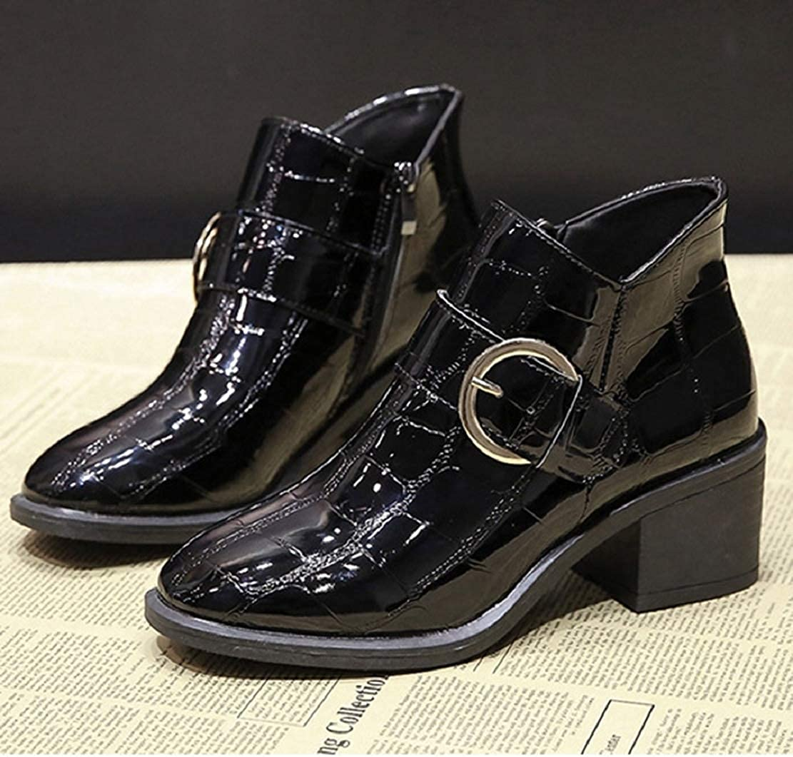 Women Strappy Buckle Patent Leather Ankle Boots Stylish Square Toe Low Chunky Heeled Short Boots by Lowprofile
