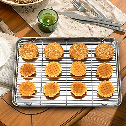 Stainless Steel Baking Sheets with Rack, HKJ Chef Cookie Sheets and Nonstick Cooling Rack & Baking Pans for Oven & Toaster Oven Tray Pans, Rectangle Size 12L x 11W x 1H inch & Non Toxic & Healthy by HKJ Chef (Image #6)