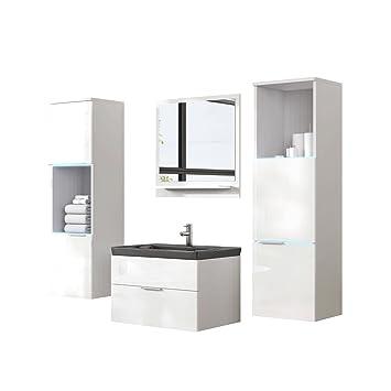 Badmöbel Set Kala inkl. Waschbecken, Siphon und RGB LED-Beleuchtung,  Modernes Badezimmer, Komplett mit Spiegel, Waschtisch, Hängeschrank, Möbel  (mit ...