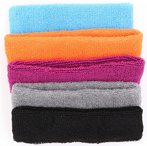 LeBeila Sweat Headbands for Women - 5 Pack Cotton Sweatbands for Women Elastic Yoga Headbands, Women's Non Slip Headband Sweatband for Sports, Workout Or Running, Sweat Headwear Bands (Set 1, 5PCS)