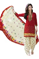 Kvsfab Women's Cotton Dress Material (KVSSK7553PA_42_Free Size_Red & Cream)