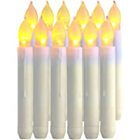 Velas LED Sin Fuego,12pcs Velas Electrónicas Funciona con Pilas Velas Sin Llama LED Taper Velas de Luz para San Valentín…