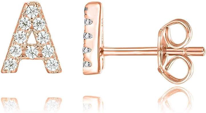 3 Pairs Initial Stud Earrings 14K Gold//Rose Gold//Silver Plated CZ Alphabet Letter Stud Earrings Hypoallergenic Studs Earrings for Women Baby Girls Teen Girls