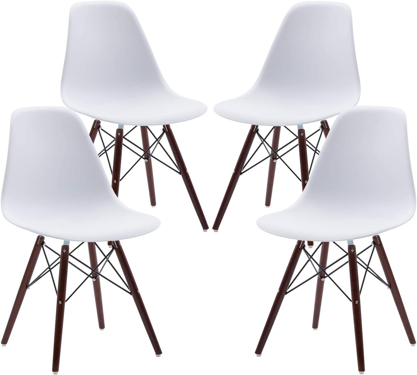 Phoenix Home Kenitra Contemporary Plastic Dining Chair, Bone White, Set of 4