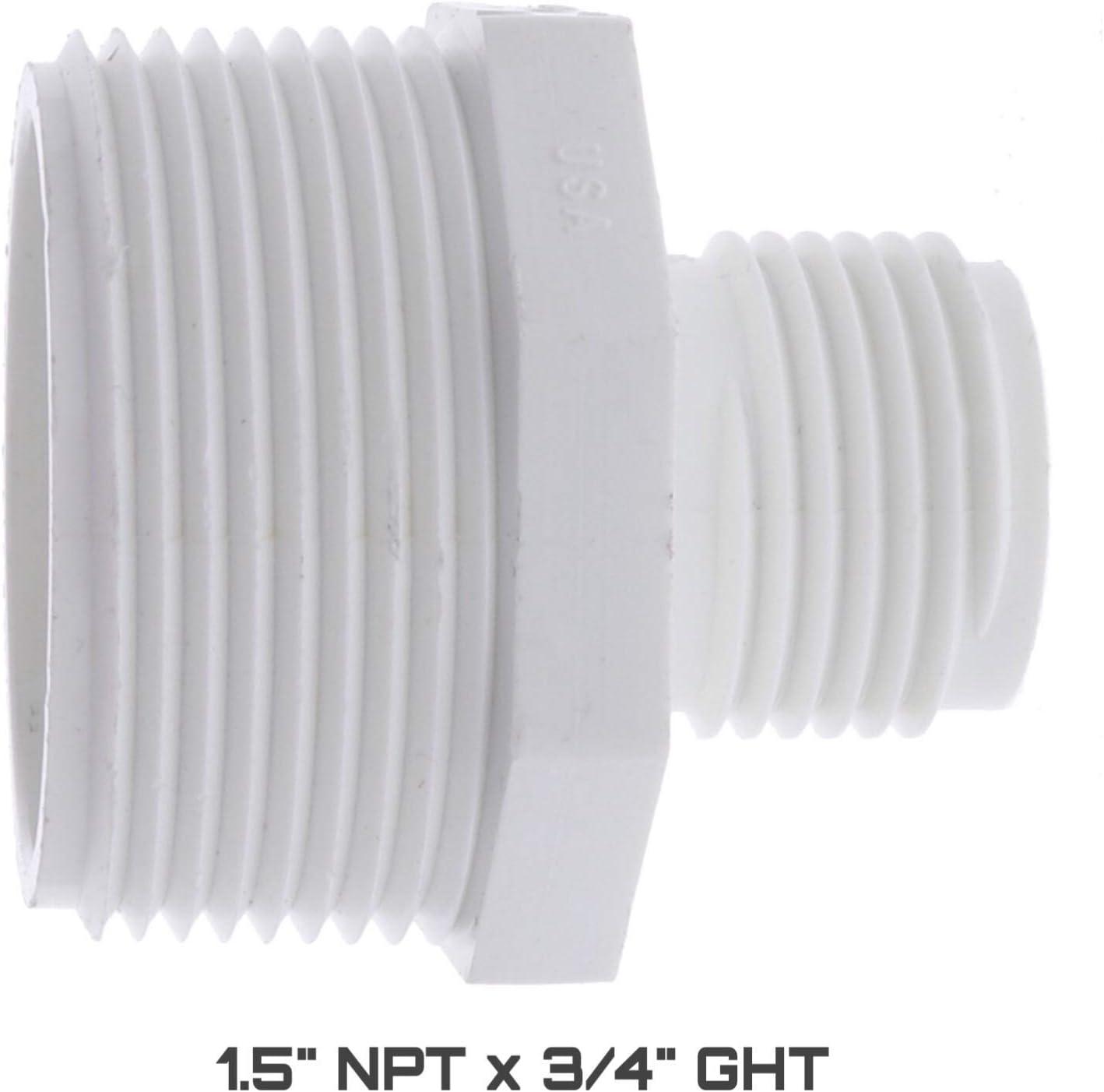 Amazon Com Pvc Garden Hose Adapter Male 1 5 Npt X 3 4 Ght For Sump Pump Garden Outdoor