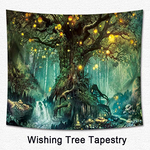 (Kingshalor Fantasy Tree Tapestry Wall Hanging Blankets 3D Digital Printed Wish Tree Psychedelic Tapestry Hippie Curtains for Home Bedroom Living-room Décor Wall Art, 51 x 59 inches)