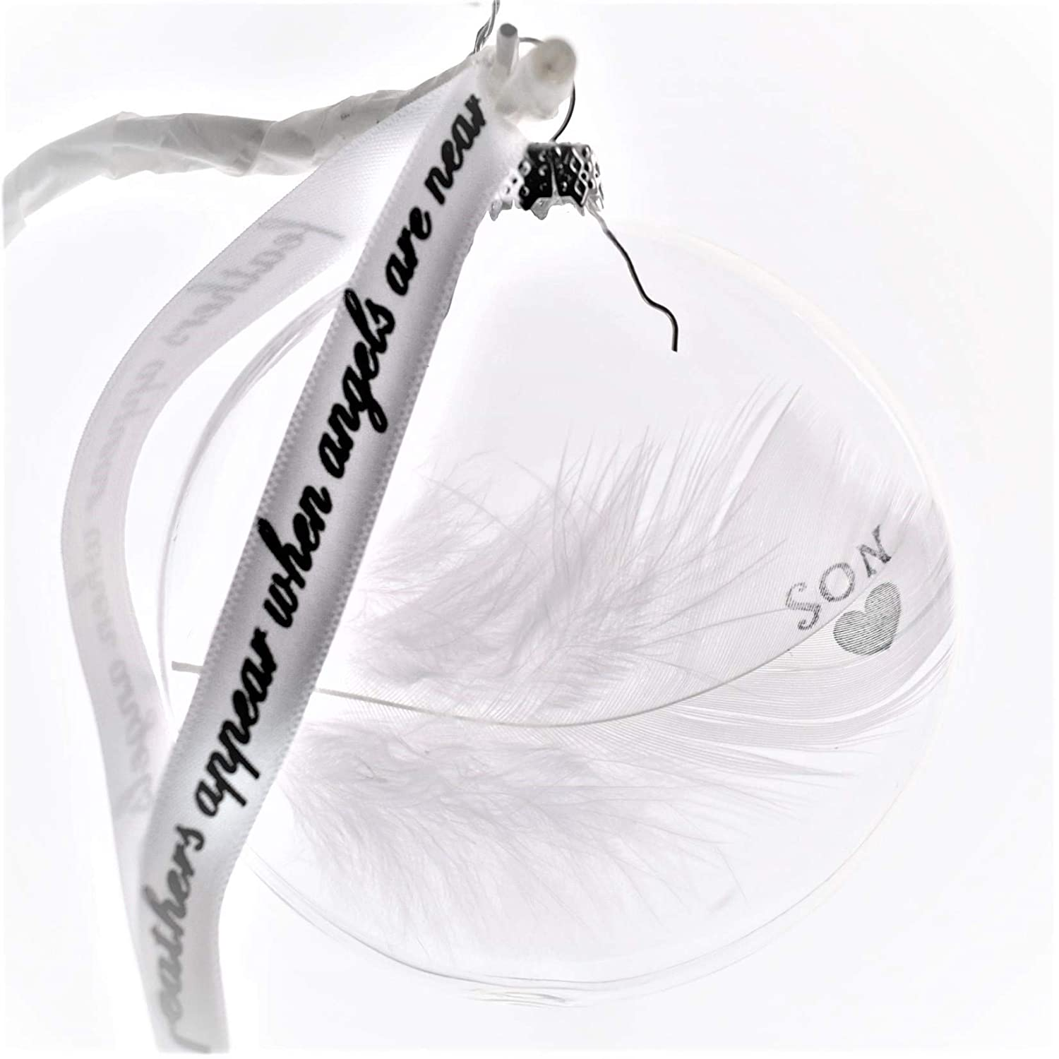 Son In Memory of Real Feather Bauble Glass Round Memorial Christmas Tree Decoration Keepsake