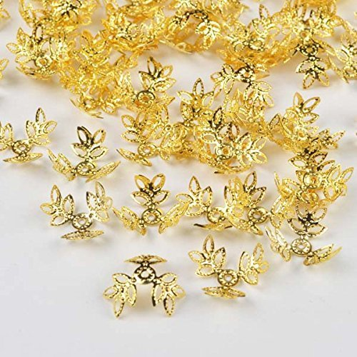 About 70 Beads - BARGAIN HOUSE 70 (Approx.) Pcs Metal Washer Flower Beads End Cap/Gold