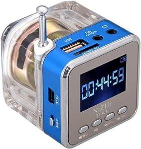 Haoponer Portable Mini Digital Display Screen Speaker USB Flash Drive Micro SD/TF Card Music MP3 Player FM Radio Blue