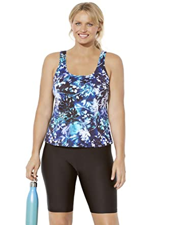 fc55821122 Swimsuits for All Women's Plus Size Sport Tankini with Long Bike Short at Amazon  Women's Clothing store: