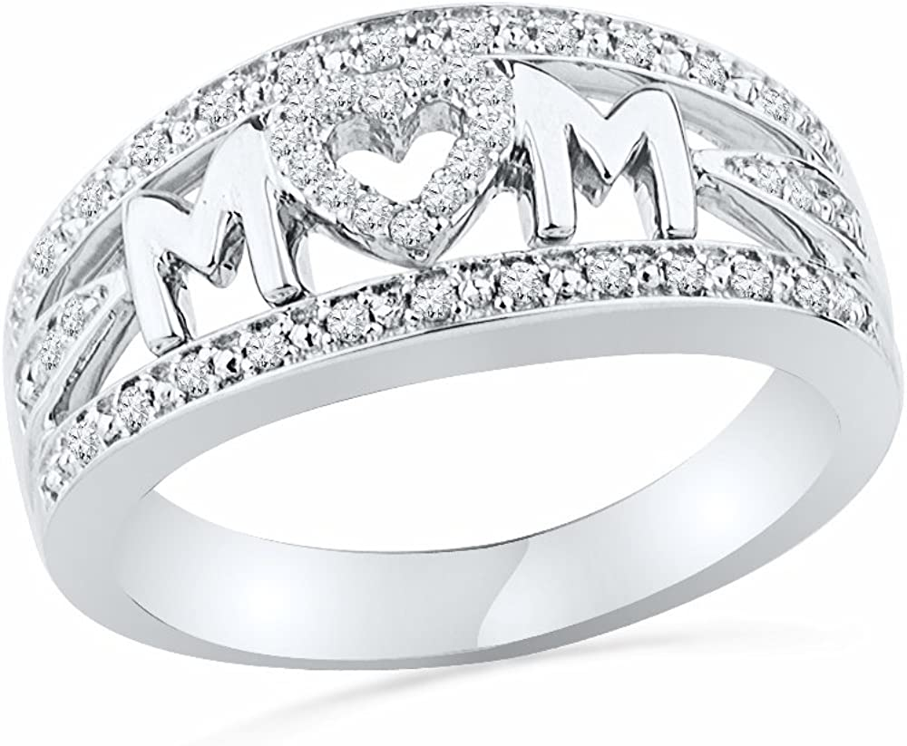 Sterling Siver Round Diamond Mom Anniversary Ring (1/5 Cttw)