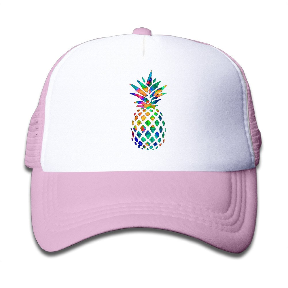 Kid's Watercolor Pineapple Trucker Mesh Baseball Cap Hat Trucker Hats Black