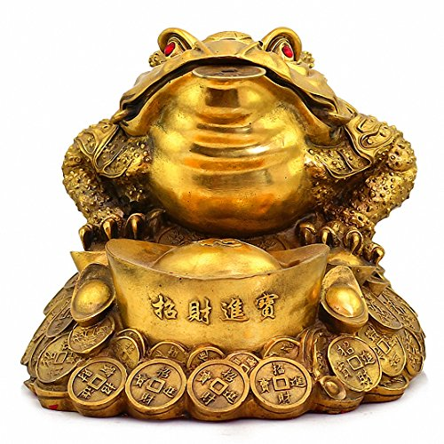 (Large Size Brass Thriving Business Feng Shui Money Frog(Three Legged Wealth Frog or Money Toad) with Golden Ingot Statue , Attract Wealth and Good Luck,Feng Shui Decor, 13.1