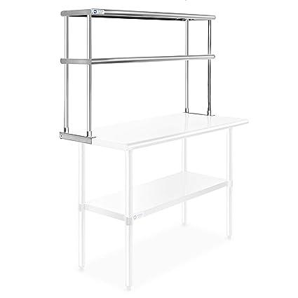 Gridmann NSF - Mesa de trabajo de acero inoxidable para cocina, 2 niveles,  doble estante – 121,92 cm x 30 cm.
