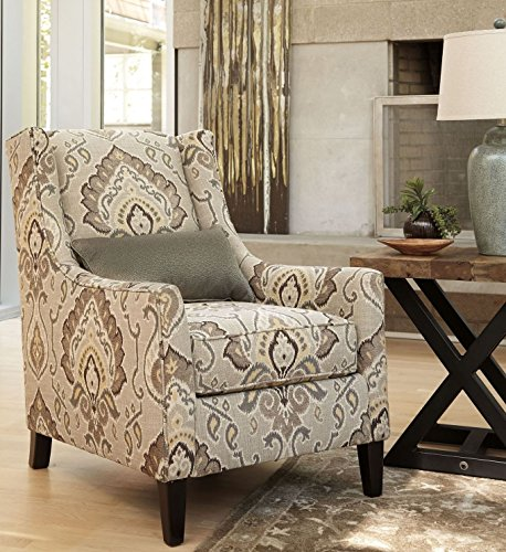 Ashley 2870122 Wilcot Accent Chair with Loose Seat Cushion Lumbar Pillow Included Tapered Legs and Patterned Fabric Upholstery in Shale