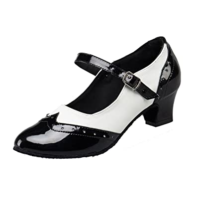 TDA Women's Comfort Low Heels PU Leather Mary Janes Latin Modern Dance Shoes