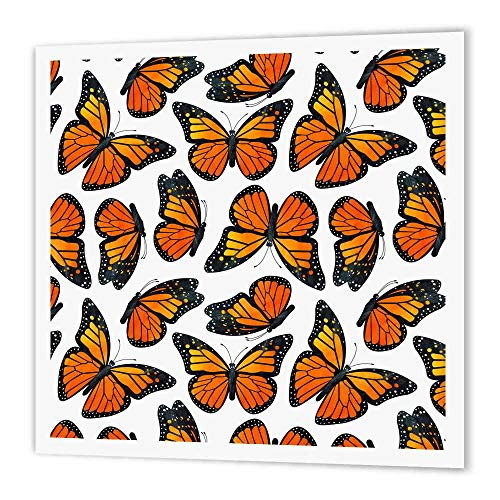 3dRose ht_214545_3 Orange Monarch Butterflies Iron on Heat Transfer, 10 by 10