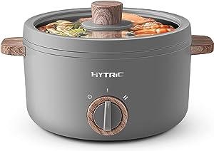 Hytric Electric Hot Pot, 1.5L Mini Multifunction Electric Cooker for Shabu-Shabu, Stir Fry, Noodles, Pasta, Nonstick Frying Pan for Sauté, Dual Temperature Control Ramen Cooker for Dorm and Office