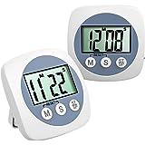 TopElek-2 Pezzi Timer Cucina Digital Timer elettronico, con cronometro Fitness Timer Con Allarme Forte e Ampio Display LCD Orologio Digitale Secondo Timer da Cucina