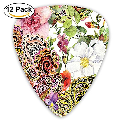 Newfood Ss Paisley Design Floral Decor Blooming Flowers Bouquet Of Roses Digital Printed Tapestry Guitar Picks 12/Pack Set