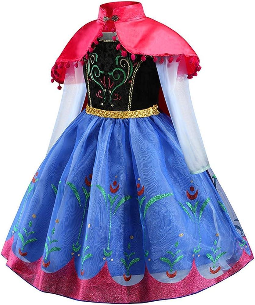 Anna Frozen Principessa Vestito Carnevale Bambina Ragazze Abito Costume Deluxe Elsa Partito Abiti Natale Cosplay Holloween Cerimonia Pageant Festa Compleanno Comunione Cocktail Lungo Fantasia Vestite