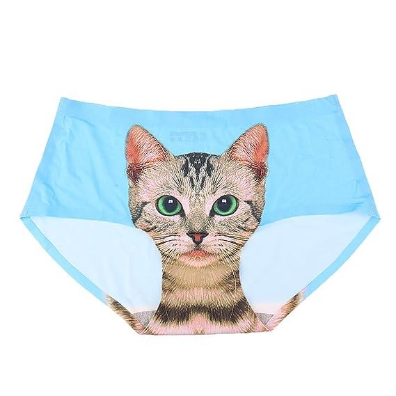 Prettyia Bragas Atractiva Invisible Ropa Interior Lencería Impresión Minino Gato para Mujer de Tamaño Libre -