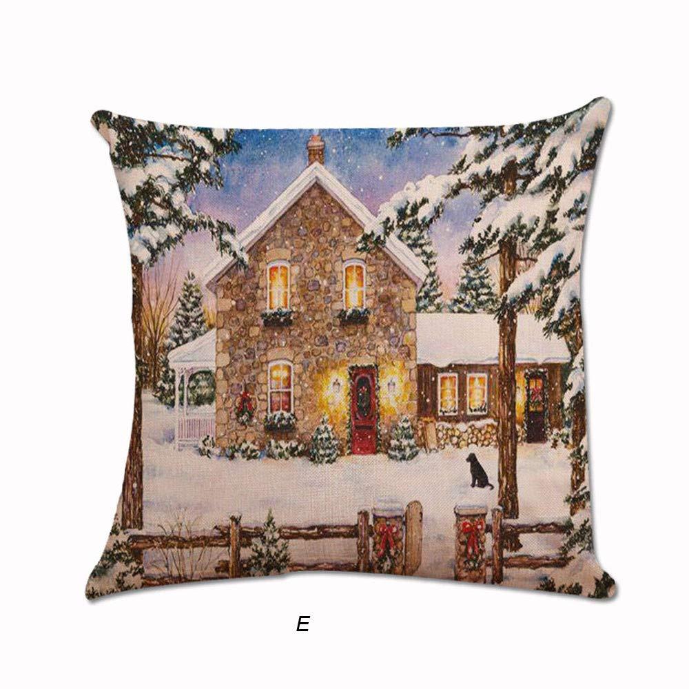 45X45cm, C Pillow Covers,Xmas Santa Claus Cushion Cover Pillowcase Square Car Home Decor Pillowslip Leewos Merry Christmas