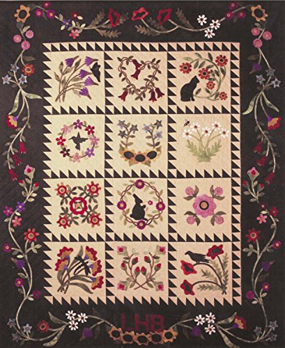 Art Folk Wool (Folk Art Album Flowers Cat Wool Applique Primitive Gatherings Quilt Pattern)