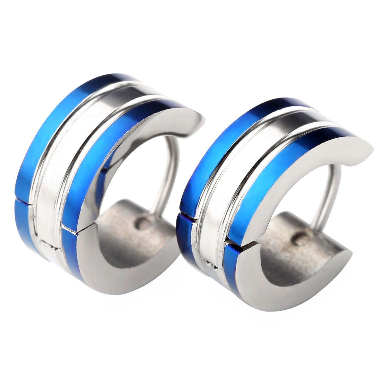 Zysta 2pcs 6MM Silver Blue Stainless Steel Hoop Huggie Earring