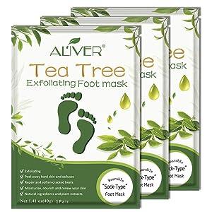 ALIVER Foot Peel Mask 3 Pack Remove Callus & Repair rough heals-Men Women (Tee Tree)