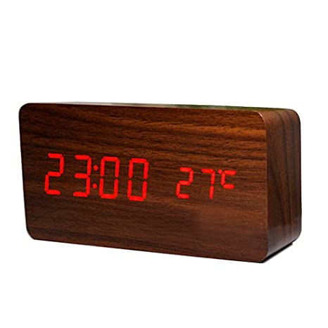 Amazon.com: Ieasycan Digital LED Alarm Clock Despertador Sound Control USB/AAA Temperature Display Electronic Wooden Desktop Table Clock For Gift: Home & ...