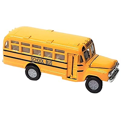 "Zugar Land Die Cast Metal Toy Yellow School Bus (5"") Pull Back & Go Action! Open Door and Hood!: Toys & Games"