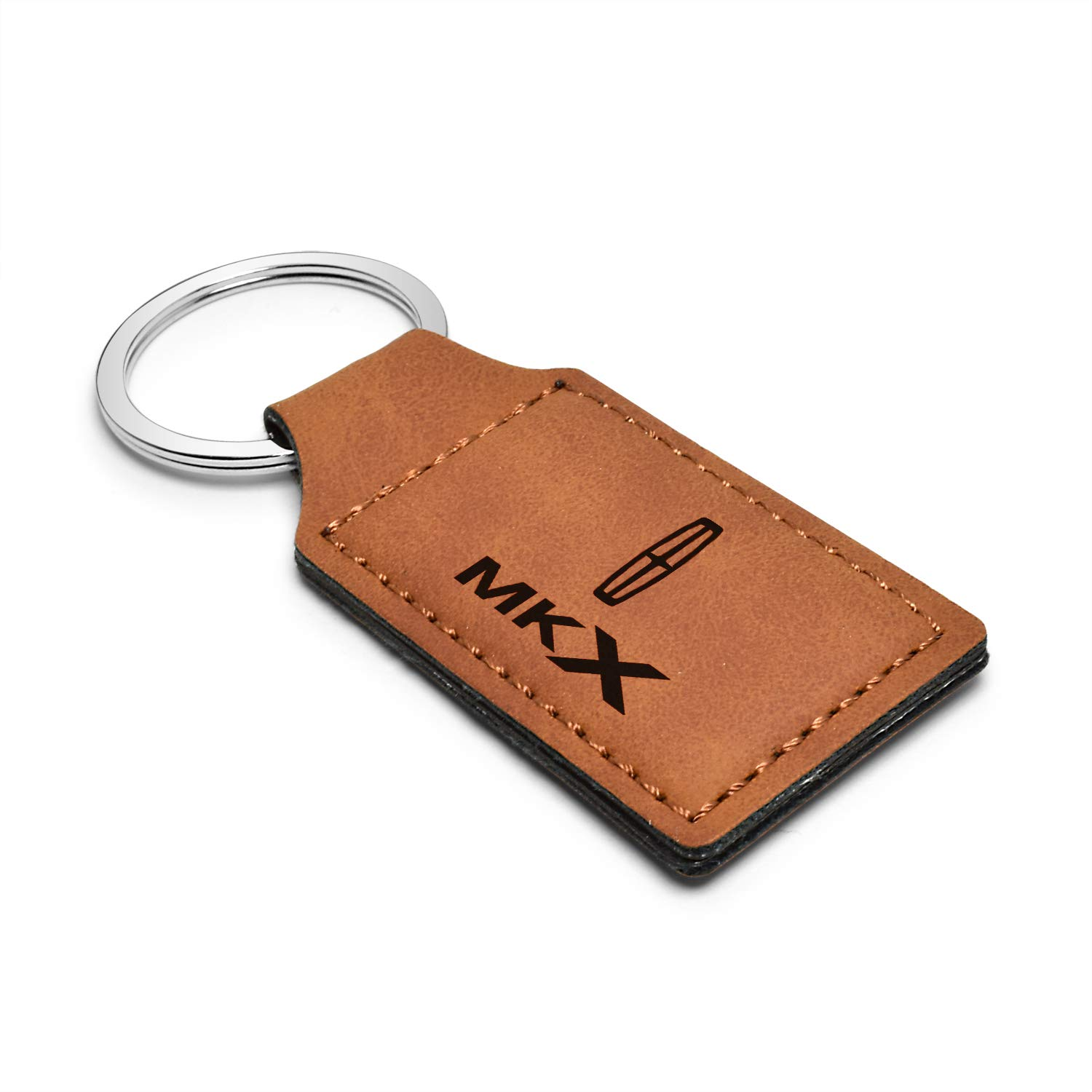 iPick Image Lincoln Rectangular Brown Leather Key Chain MKX