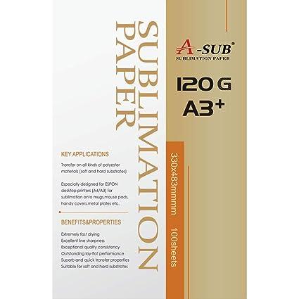 A-SUB Papel de sublimación A3+, 13 x 19 pulgadas, 330 x 483 ...