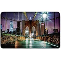 Memory Foam Bath Mat,Landscape,Brooklyn Bridge Pedestrian Walkway Before Sunrise American Landmark PicturePlush Wanderlust Bathroom Decor Mat Rug Carpet with Anti-Slip Backing,Purple Brown