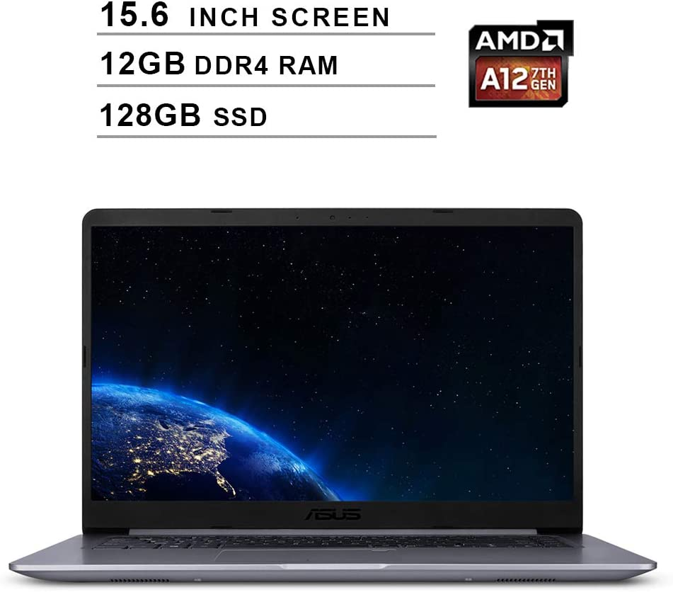 Asus 2020 VivoBook F510QA 15.6 Inch FHD Laptop Computer (AMD Quad Core A12-9720P up to 3.6 GHz, 12GB RAM, 128GB SSD, AMD Radeon R7, Bluetooth, WiFi, HDMI, Windows 10)