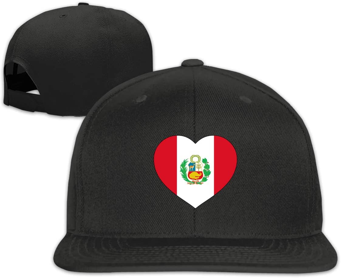 MOCSTONE Unisex Snapback Hat Love Peru Heart Adjustable Baseball Cap