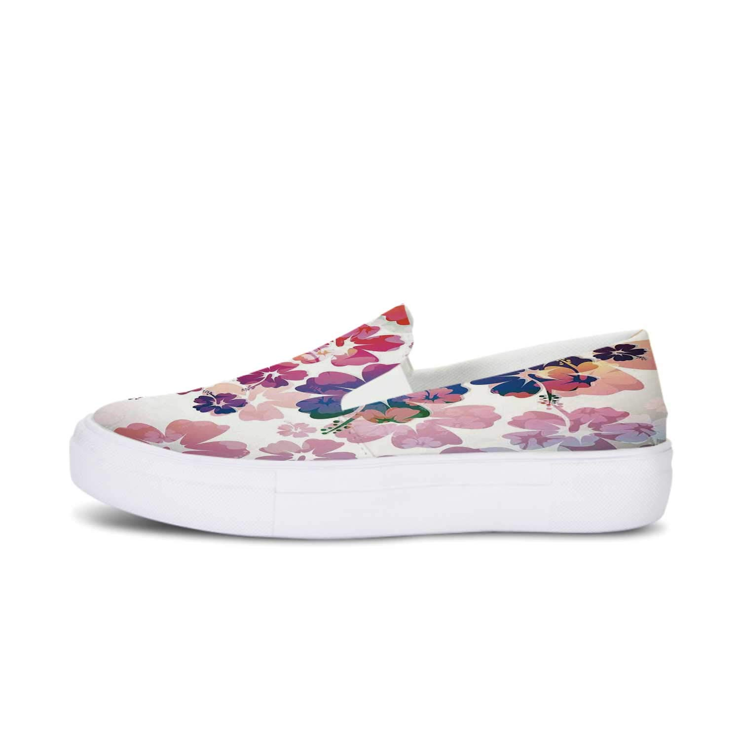 Ocean Decor Canvas Slip On Shoes,Relax Beach Resort Spa Palm Trees and Sea for Women,US 5