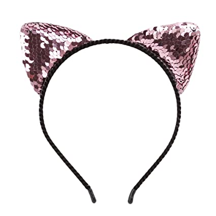 15f40df168e Amazon.com  Dolland Glitter Cat Ears Headband for Girls Reversible Sequin  Girls Headbands Kids Hair Hoop Headwear
