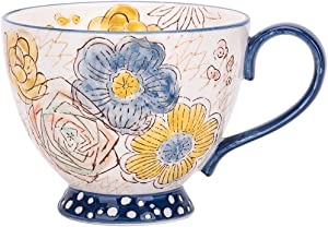 JOYYE Hand Painted Flower Ceramic Mug Cup Coffee Mug Tea Mugs Bone China Cup 13.5oz and Case (blue)