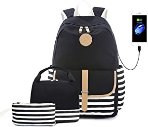 Goodking School Backpack for Teen Girls Women with USB Charging Port, Lightweight College Bookbag Laptop Backpack with Insulated Lunch Bag and Pencil Bag 3 in 1 (Black)