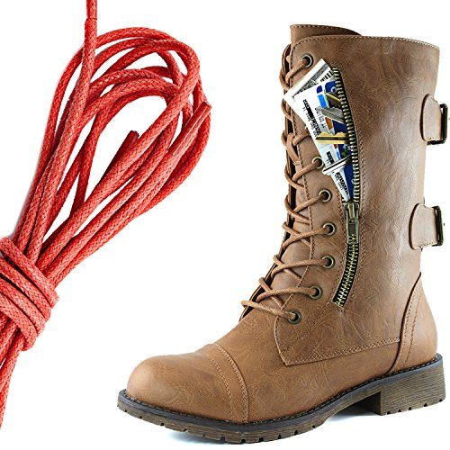 DailyShoes Womens Military Lace Up Buckle Combat Boots Mid Knee High Exclusive Credit Card Pocket, Red Slim Tan