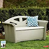 Outdoor Lawn Storage Bench With Back Support, Patio Outdoor Couch, All-Weather Durable Couch With Double-Wall Construction & Storage & eBook Home Decor