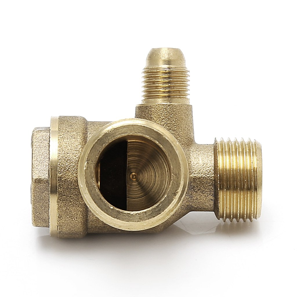 manyo Válvula antirretorno para compresor de aire - Rosca Exterior de 3 Vías - Metal - oro, 1 pieza.: Amazon.es: Coche y moto