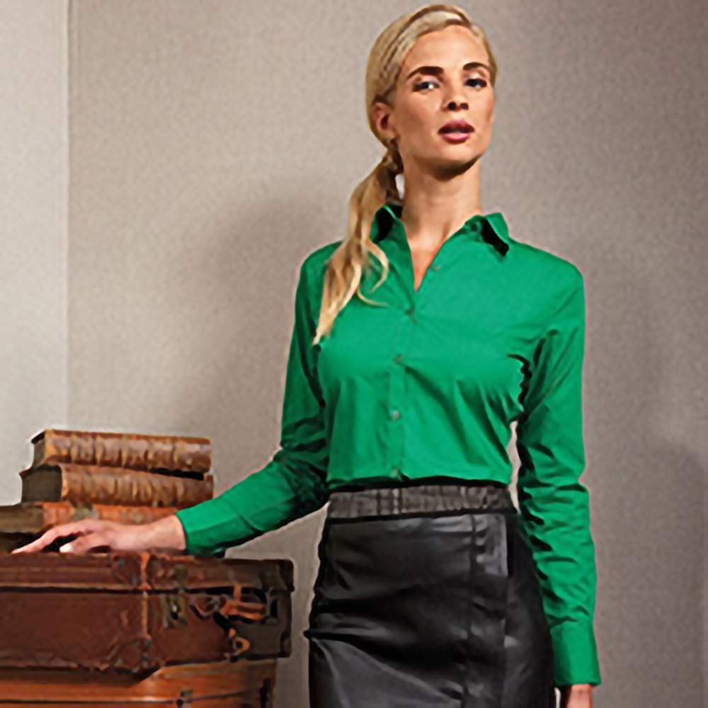 Premier dam popeline blus i 30 färger och storlekar XXS till 6XL enligt Oeko Tex® Standard 100 och WRAP certifierad från notrash2003® lila