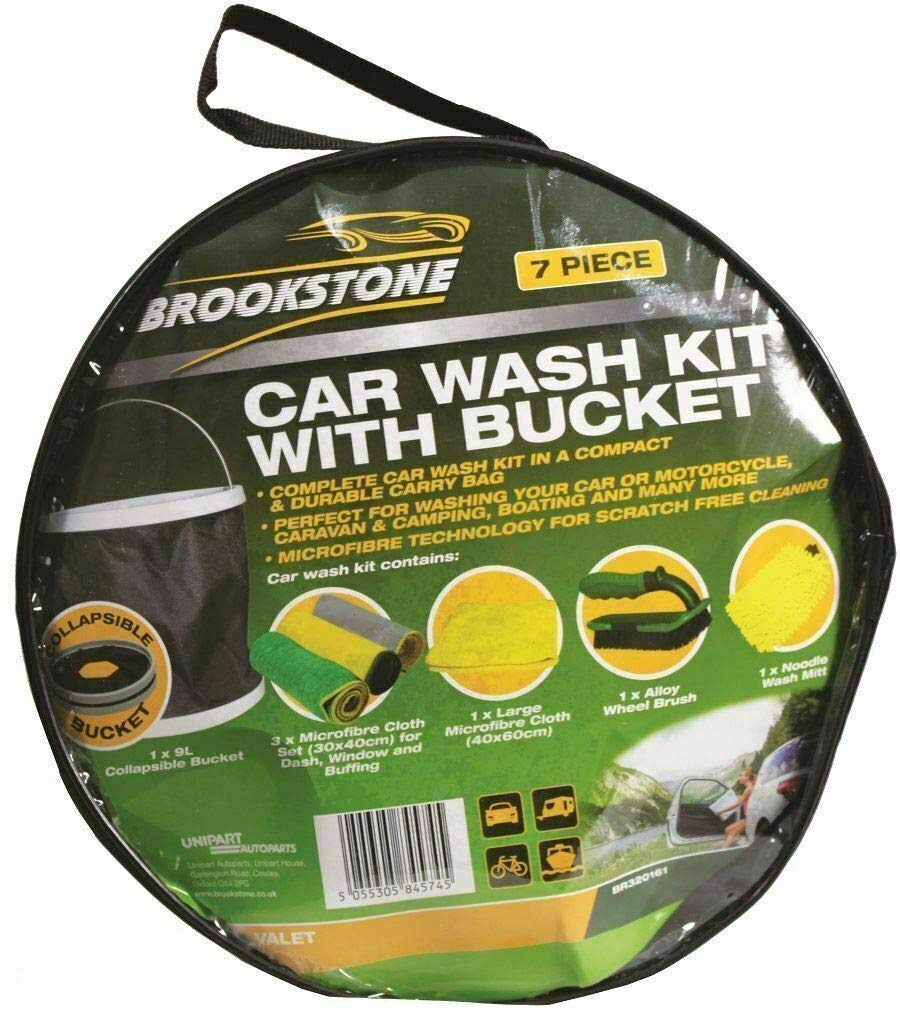 Car & Motorbike Care Brookstone Car Wash Complete Cleaning Set with Bucket & 6 Comprehensive Piece