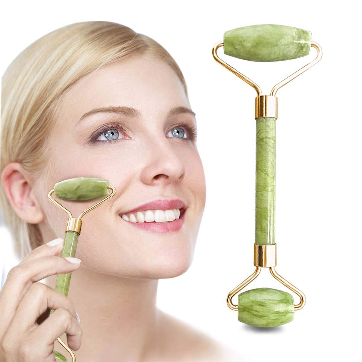 Jade Roller, Jade Roller for Face, Jade Facial Roller, 100% Natural Quartz Facial Roller Anti-aging Massage Roller for Slimming Healing Rejuvenation & Beauty, Neck Healing Slimming Massager (Green) 1